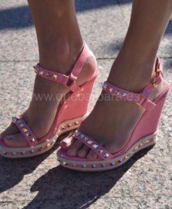 sandalias rosa cuña que barbara