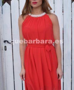 vestido rojo perlas que barbara