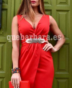 vestido cruzado rojo que barbara