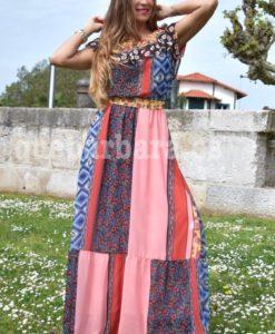 vestido largo patchwork que barbara