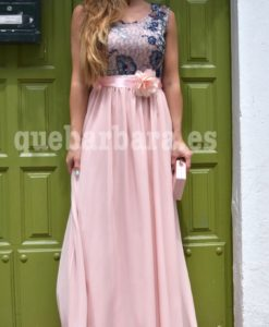 vestido largo rosa que barbara