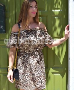 vestido corto estampado animal que barbara