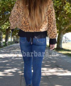 cazadora leopardo pelo que barbara