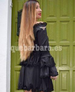 vestido negro bordados que barbara