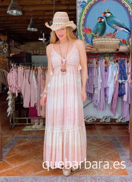 vestido largo ibicenco rosa que barbara