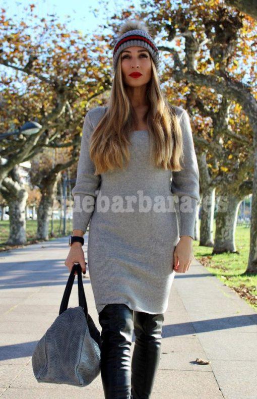 vestido punto gris que barbara
