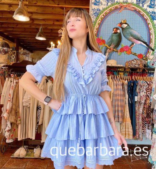 vestido azul volante que barbara