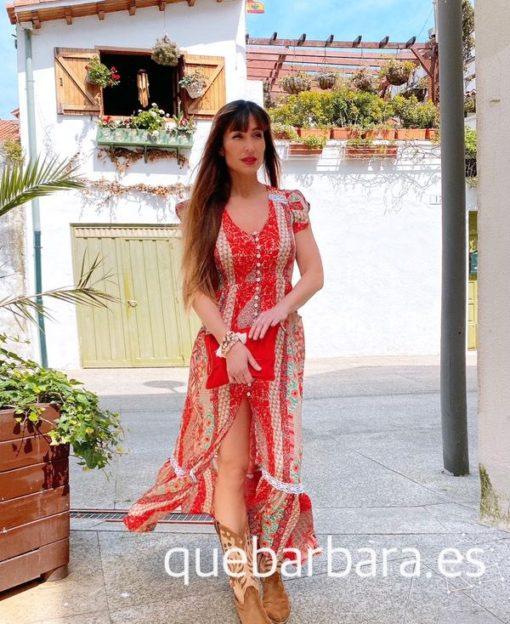 vestido largo flores rojo que barbara